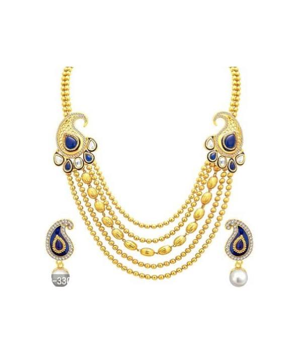 02-P-4302043-g - Trendy Designer Gold Plated Ethnic Jewellery Set