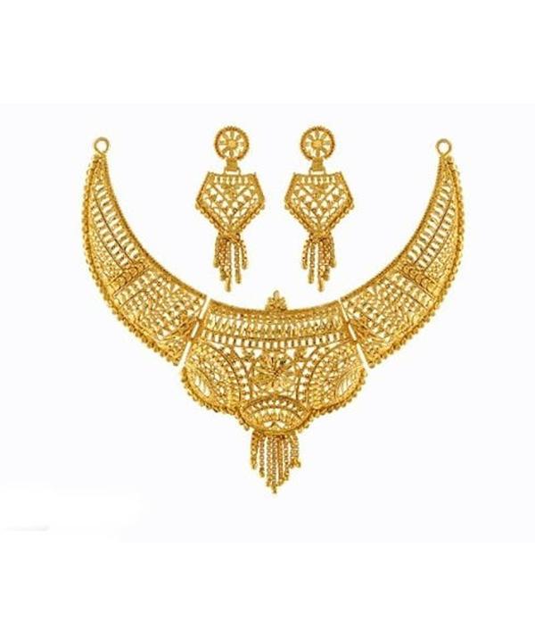 05-P-1172094-g - Beautiful Designer Ethnic Gold Plated Necklace Se