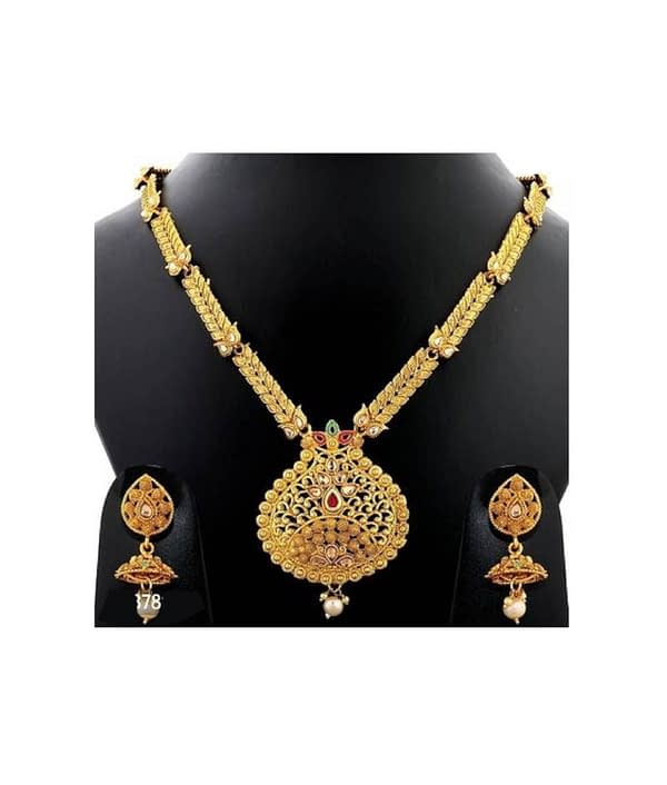 01-P-9782803-g - Exclusive Gold Plated Designer Jewellery Set