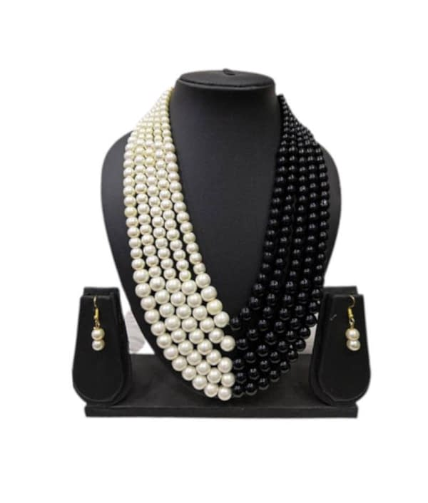 05-P-4542032-g - Designer Pearl and Kundan Necklace Set With Earri