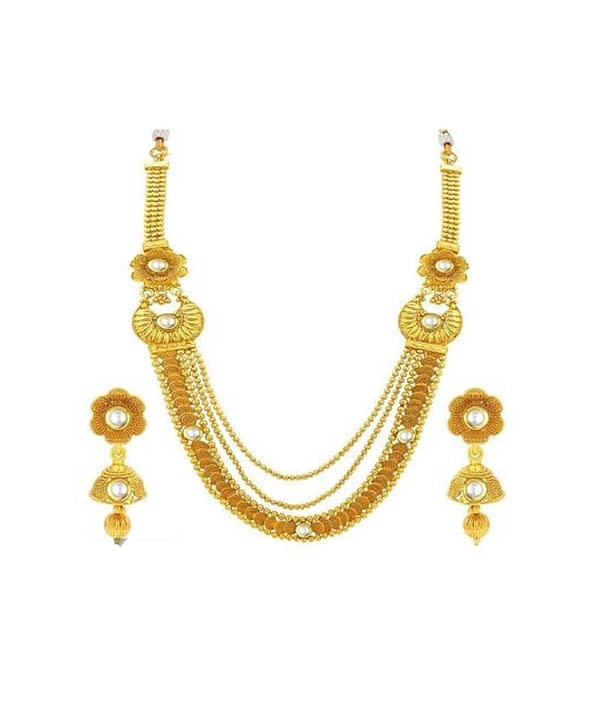 01-P-1302043-g - Trendy Designer Gold Plated Ethnic Jewellery Set