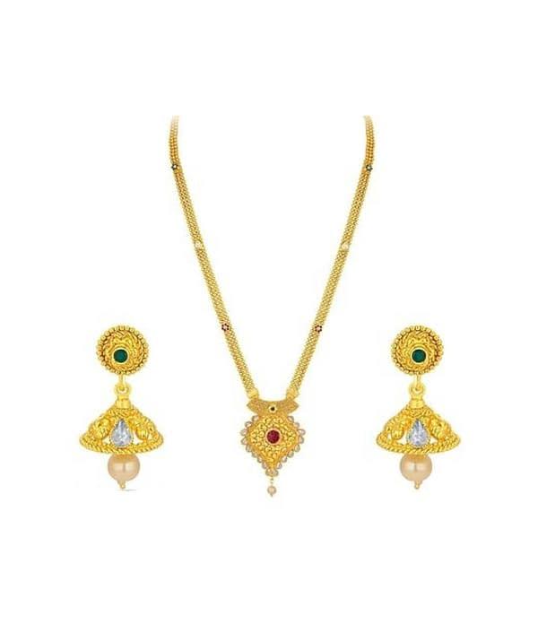 04-P-6302073-g - Trendy Designer Gold Plated Ethnic Jewellery Set