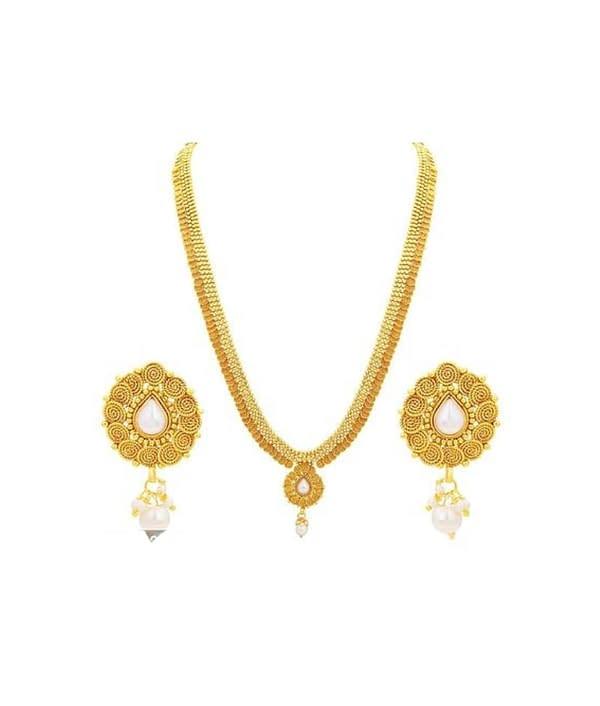 05-P-4302133-g - Trendy Designer Gold Plated Ethnic Jewellery Set