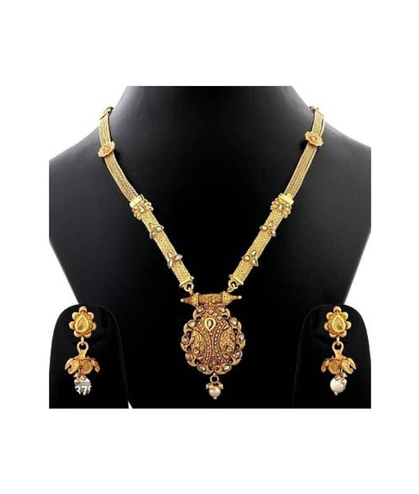 03-P-6782803-g - Gold Plated Stonework Designer Jewellery Set