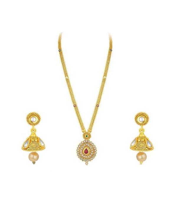 03-P-2302073-g - Trendy Designer Gold Plated Ethnic Jewellery Set