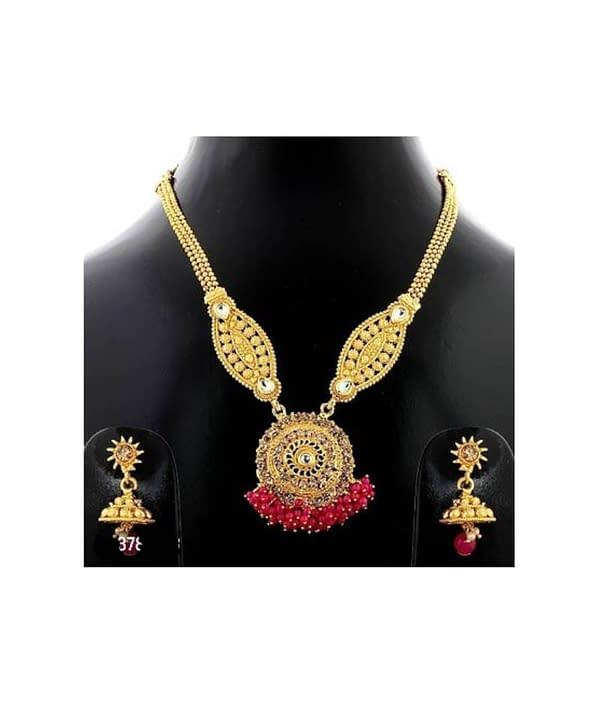 02-P-3782783-g - Gold Plated Stonework Designer Jewellery Set