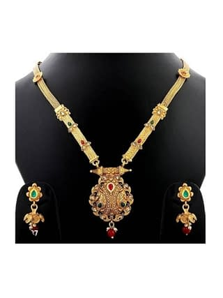 01-P-5782803-g - Gold Plated Stonework Designer Jewellery Set