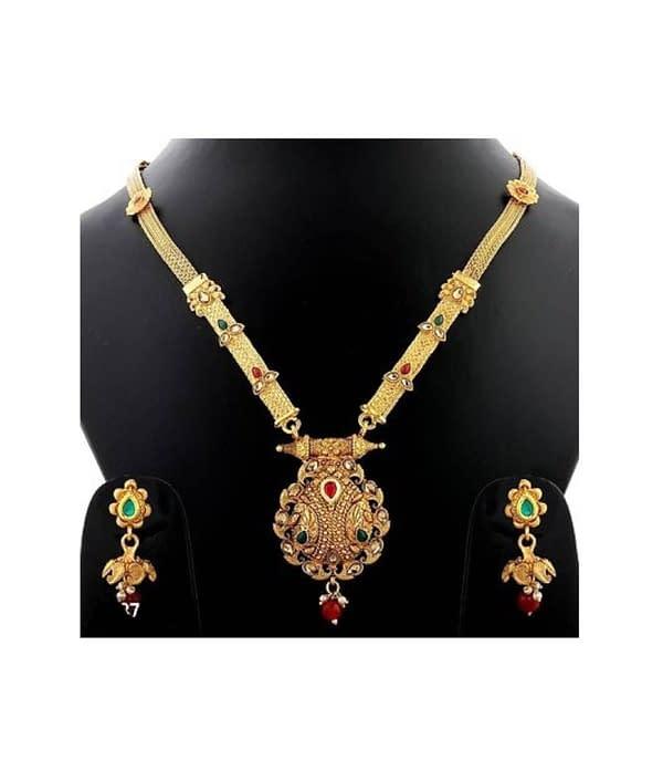 01-P-5782803-g - Gold Plated Stonework Designer Jewellery Set