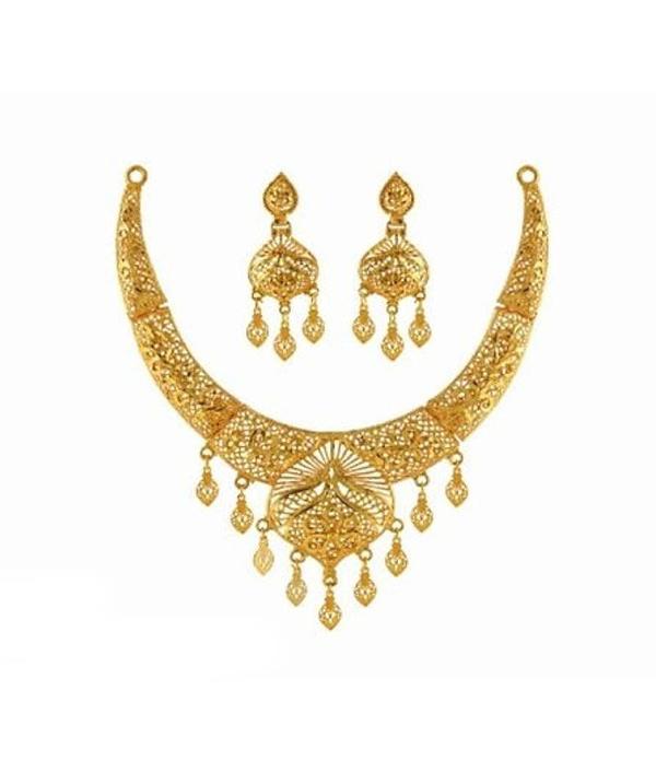 03-P-7172084-g - Beautiful Designer Ethnic Gold Plated Necklace Se
