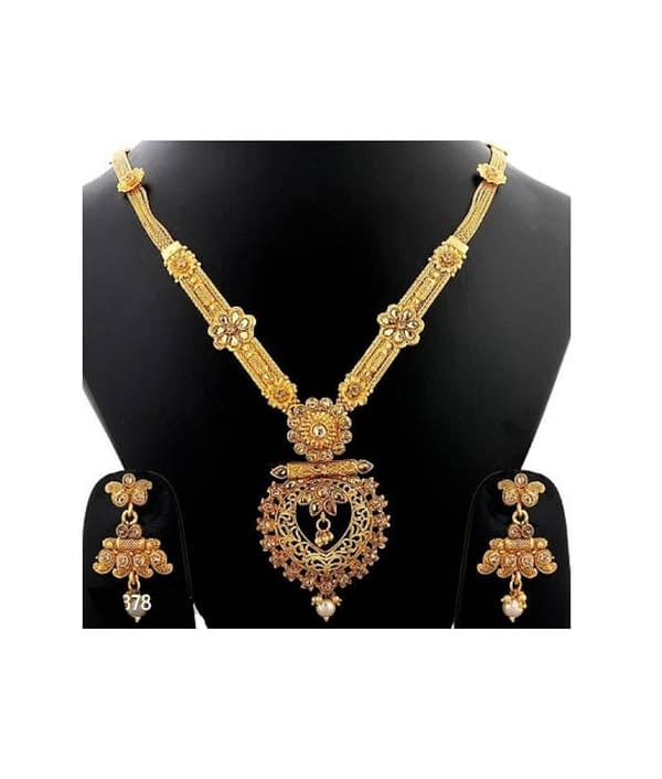 02-P-9782813-g - Exclusive Gold Plated Designer Jewellery Set