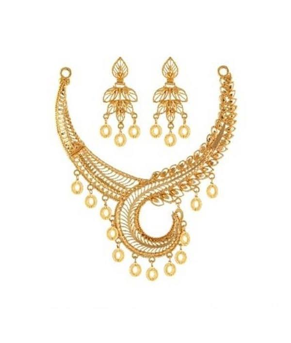 06-P-2172094-g - Beautiful Designer Ethnic Gold Plated Necklace Se