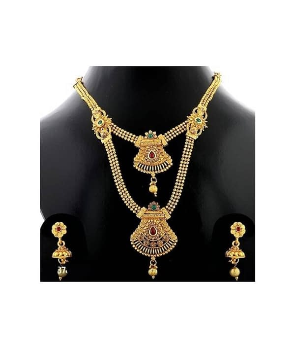 02-P-4782773-g - Trending Gold Plated Multi Layered Jewellery Set