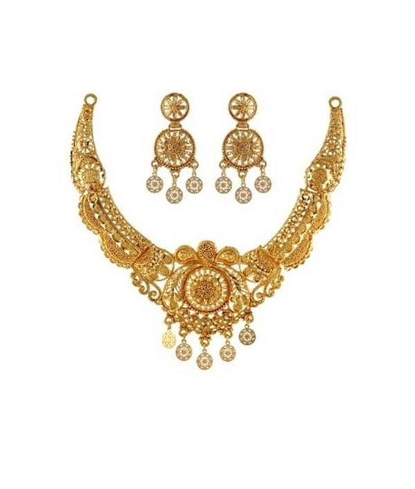07-P-5172104-g - Beautiful Designer Ethnic Gold Plated Necklace Se