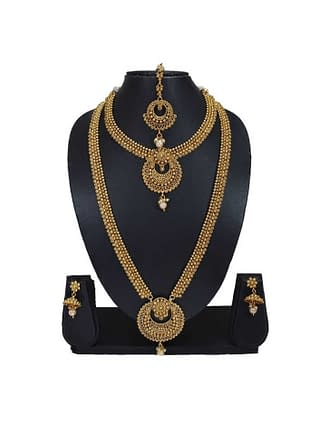 Beautiful Ethnic Gold Plated Copper Temple Jewellery Set