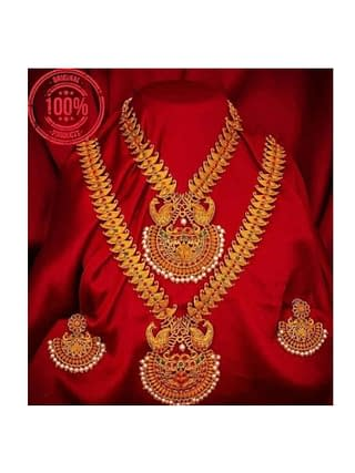 Beautiful Ethnic Gold Plated and Matte Finish Temple Jewellery Set