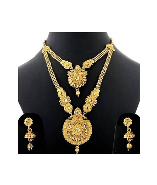 07-P-2782803-g - Trending Gold Plated Multi Layered Jewellery Set