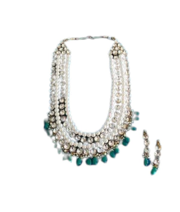 04-P-3542032-g - Designer Pearl and Kundan Necklace Set With Earri