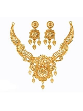 01-P-9172084-g - Beautiful Designer Ethnic Gold Plated Necklace Se