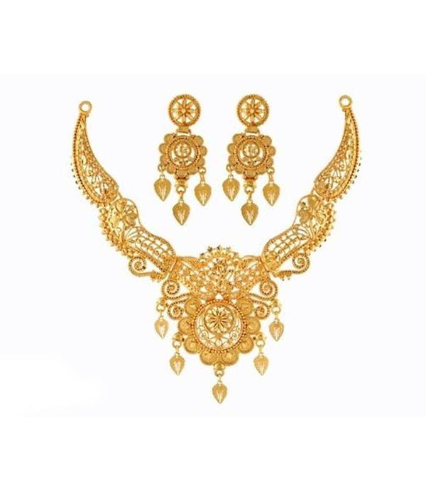 01-P-9172084-g - Beautiful Designer Ethnic Gold Plated Necklace Se