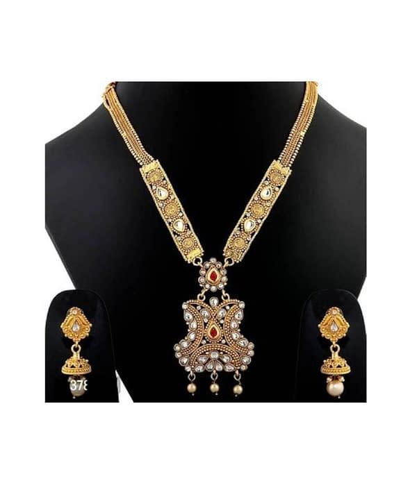 04-P-1782813-g - Gold Plated Stonework Designer Jewellery Set