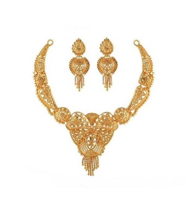 02-P-6172084-g - Beautiful Designer Ethnic Gold Plated Necklace Se
