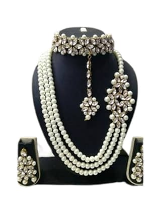 01-P-9542022-g - Designer Pearl and Kundan Necklace Set With Earri