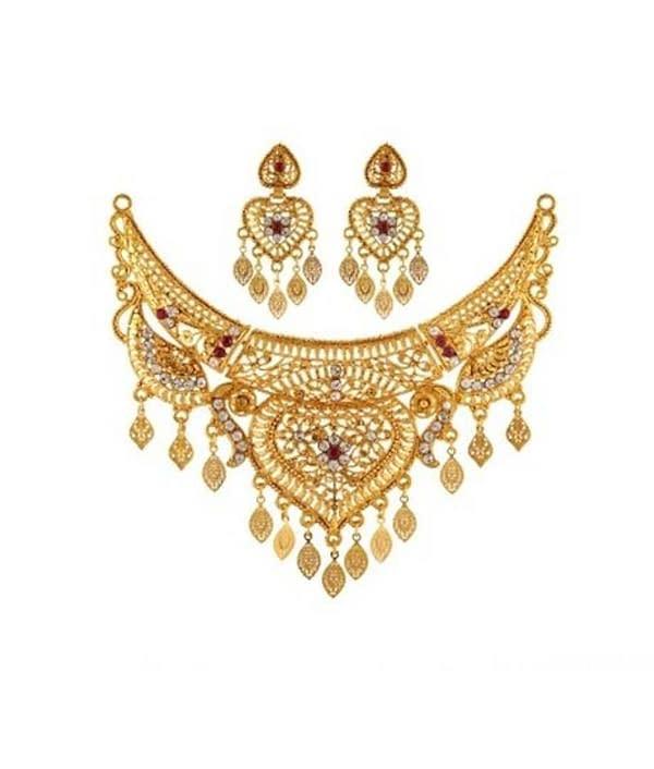 08-P-6172104-g - Beautiful Designer Ethnic Gold Plated Necklace Se