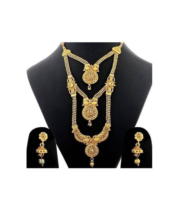 08-P-9782783-g - Gold Plated Stonework Designer Jewellery Set