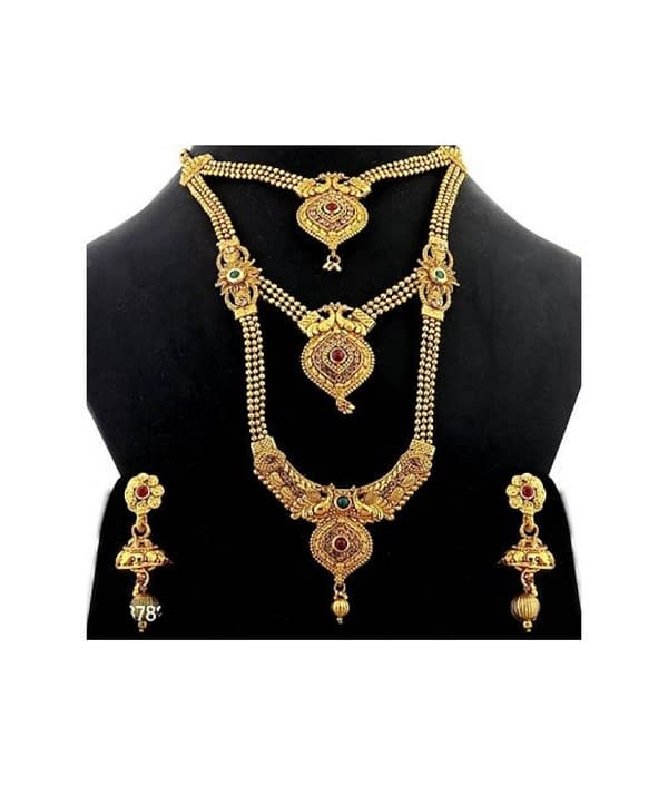 07-P-8782783-g - Gold Plated Stonework Designer Jewellery Set