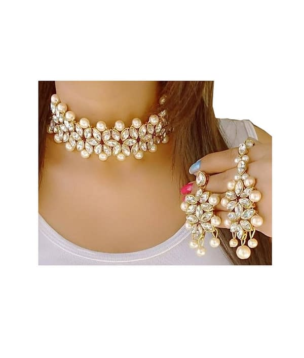 02-P-5542032-g - Designer Pearl and Kundan Necklace Set With Earri
