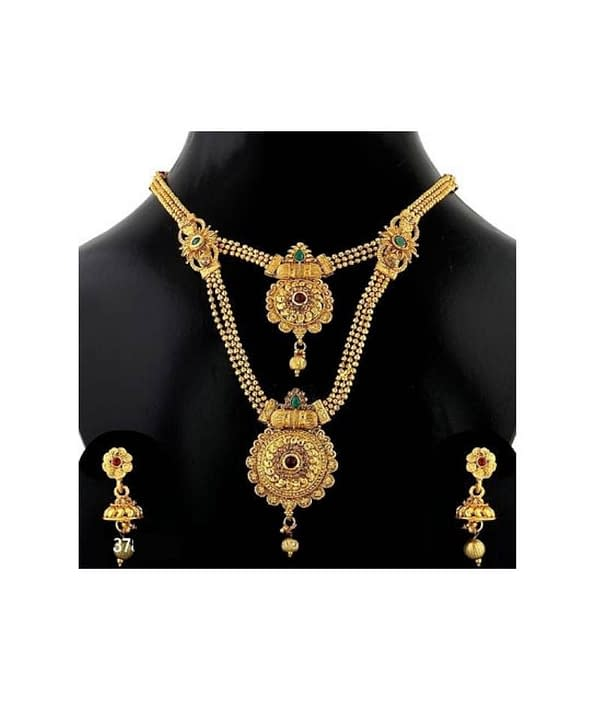 05-P-7782773-g - Trending Gold Plated Multi Layered Jewellery Set