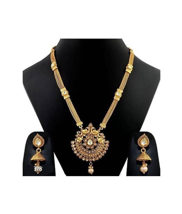 06-P-1782823-g - Gold Plated Stonework Designer Jewellery Set