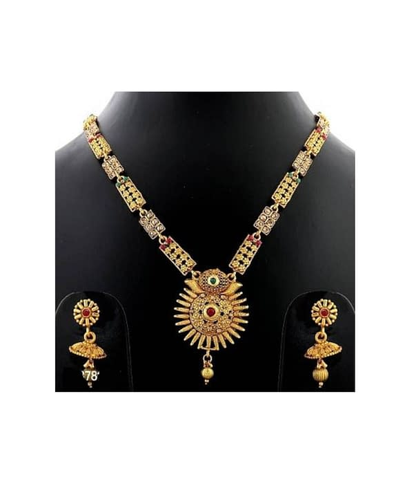 08-P-4782823-g - Exclusive Gold Plated Designer Jewellery Set